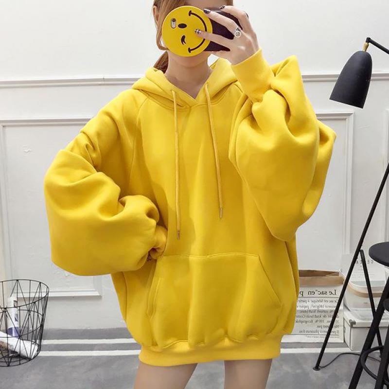 Ropa de invierno para mujer, sudadera 2019 Casual de Color sólido vellón Harajuku, jerséis de manga larga con cordón, sudaderas con capucha, abrigo grueso