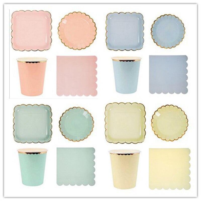 Vaisselle jetable rose et bleu pour anniversaire   Serviette/tasse/assiette en papier dorure, décoration de fête danniversaire pour la maison des enfants