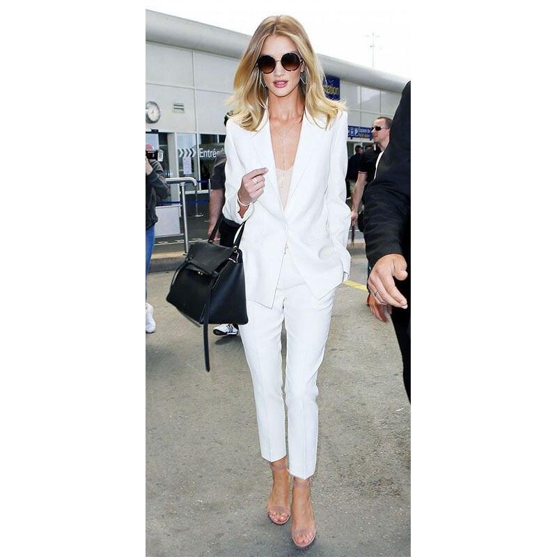 Blanco mujer uniforme de oficina Mujer Pantalones traje de negocios señoras trabajo esmoquin hecho a medida trajes A016