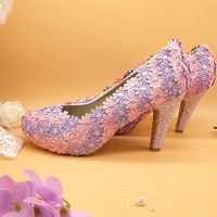2019 new arrival womens wedding shoes bride pinklilac flower shoes woman crystal heel party pumps 10cm thin heel
