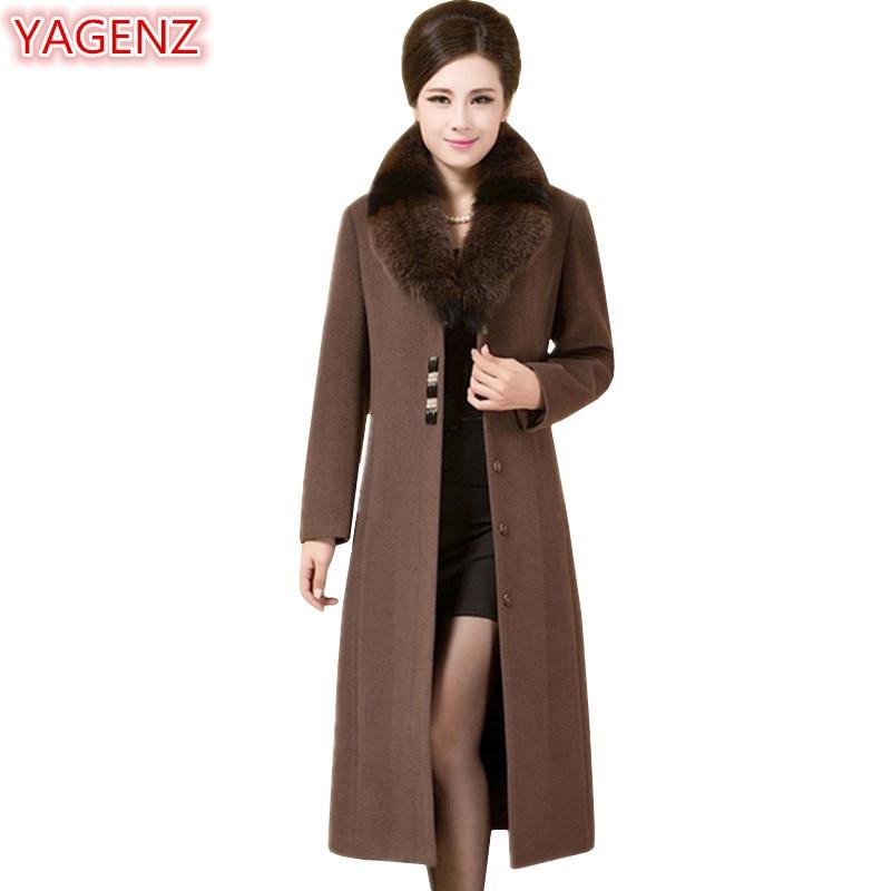 YAGENZ Autumn Winter Jacket Women High quality Fox Fur collar Wool Coat Female Long Jacket Large size Woolen Coat Womens Top 686