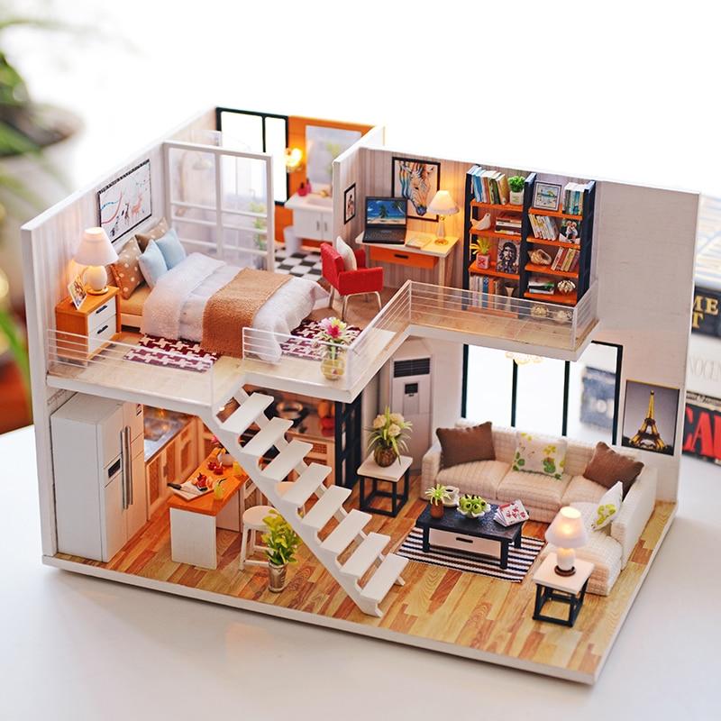 Doll House DIY Miniature Dollhouse Model Furniture Building Kits House For Dolls Wooden Casa Toys For Children Christmas Gift #E