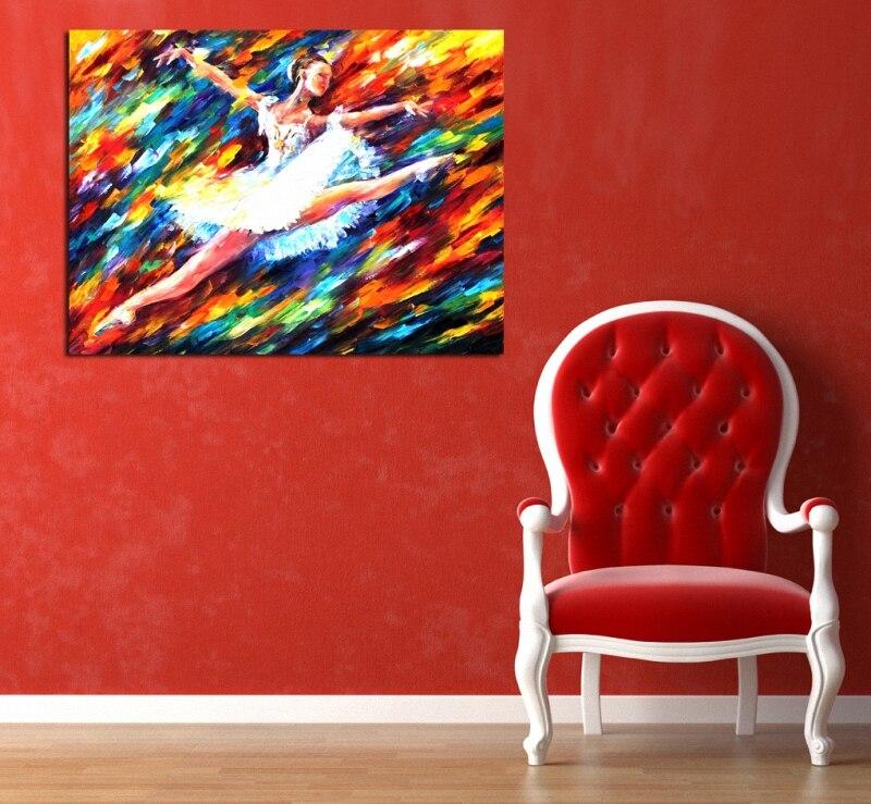 Pintura al óleo abstracta bailarina lienzo pintura paleta cuchillo Ballet chica pintura HD impresión pared arte lienzo impresiones decoración del hogar