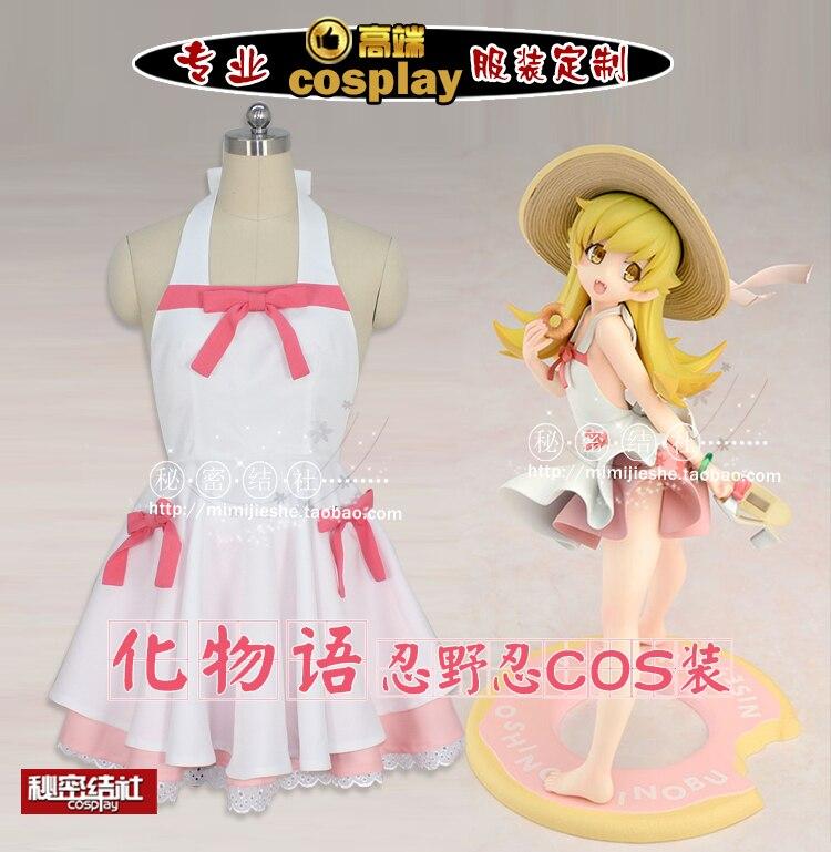Аниме Bakemonogatari Cos Oshino Shinobu, платье с героями мультфильмов для женщин, платье в стиле Лолиты белого и розового цвета, костюм для косплея на Хэллоуин