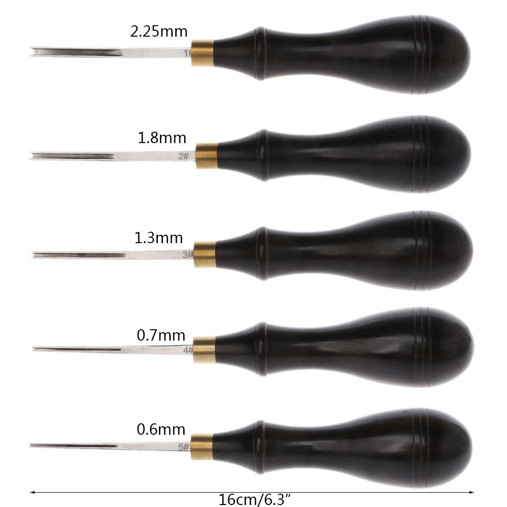 Lame en acier pour Creaser les bords du cuir   Ébène, bois noir, rainure peu profonde, outil de marquage artisanal 16cm