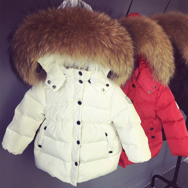 Caliente invierno niños diseño corto espesamiento blanco plumón de pato bebé grande cuero piel collar ropa niño bebés chaqueta cálida