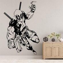Avengers Deadpool-Stickers muraux en vinyle   Autocollant Mural amovible, dessin animé, décoration de la maison, chambre à coucher, Art Mural pour enfants, U953