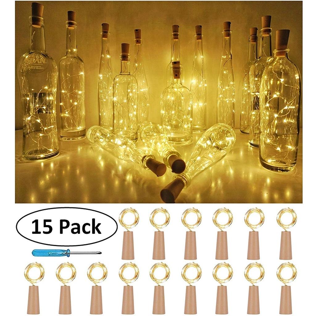 15 pièces bouteille lumières liège forme pour 1M 10 LED bouteille de vin chaîne fête romantique décor à la maison lumière LED guirlande lumineuse LED
