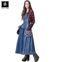 new 2020 autumn women elegance large pocket decorative vintage embroidery dress women casual sleeveless strap denim long dresses