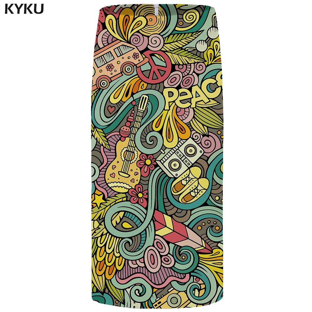 KYKU Music Skirts Women Colorful Office Pencil Harajuku Sundresses Car 3d Printed Casual Party Ladies Womens 2018