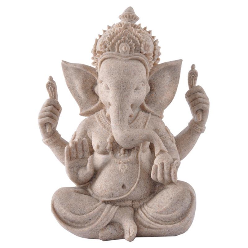 Arenito natureza Indiano Ganesha Estatueta Religiosa Hindu Deus Elefante Estátuas de Buda Escultura Fengshui Elefante-Headed R34