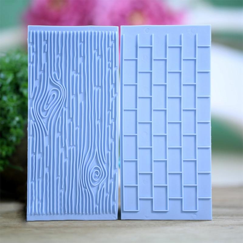 Texture 2-Piece Mold Tree Bark Brick Wall Impression Moulds Gum Paste Impression Mat Fondant Cupcake Wedding Gift Decoration