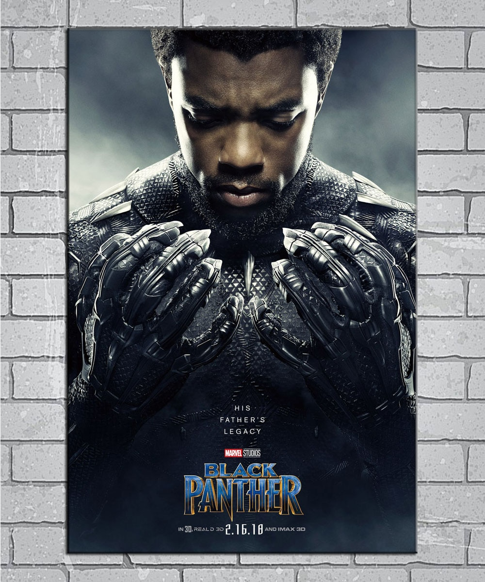 Black Panther Movie 2018 Chadwick Boseman Film Light Canvas Custom Poster 24x36 27x40 inch Home Decor N008