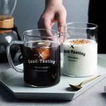 Tasse en verre créative de Couple   Tasse à motif de lettres noires blanches matin lait café thé tasse avec poignée verres à encre cadeau de Couple 400ml