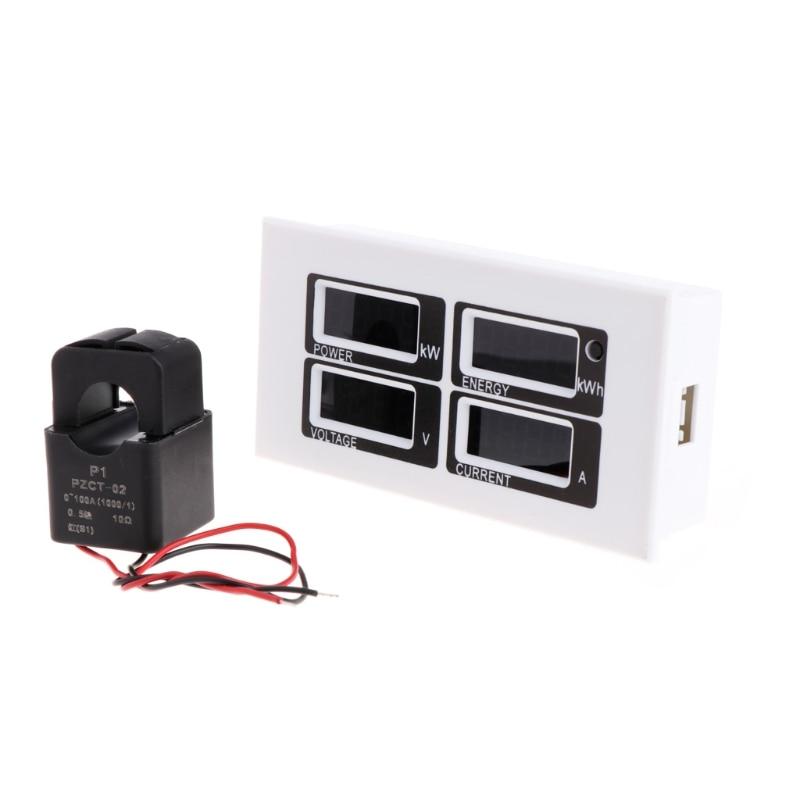 Alta calidad 4 en 1 amperímetro Digital voltímetro Watt medidor de energía AC 80-260V 100A PZEM-004