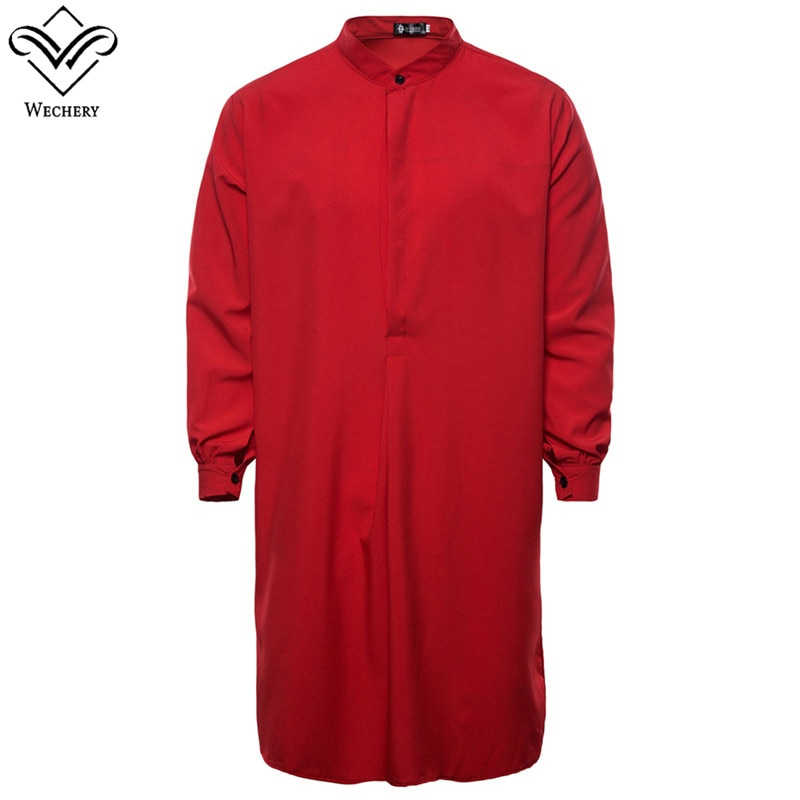 Wechery homens kaftan roupas muçulmanas para homens sólido jubba thobe preto marinho branco vermelho roupa islâmica 2018 moda arabe robes