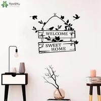 Art mur decalcomanie bienvenue doux maison citations mur autocollant salon porte signe oiseaux fleur decalcomanies vinyle Art papier peint QQ418