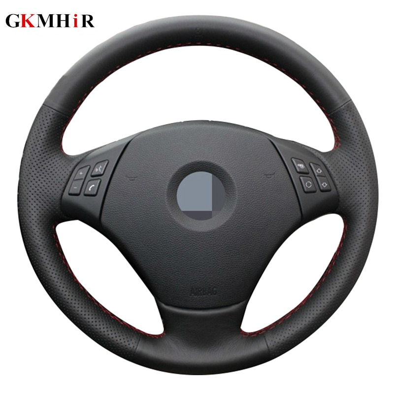 DIY Hand-stitched Black Artificial Leather Steering Wheel Cover for BMW E90 320 318i 320i 325i 330i 320d X1 328xi 2007