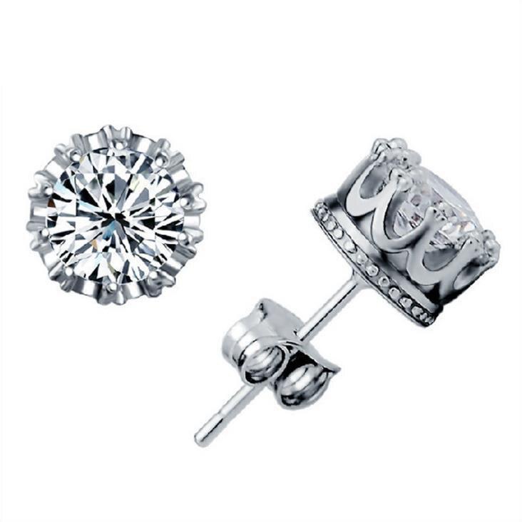 Nova chegada 925 prata esterlina masculino cristal bonito do parafuso prisioneiro earings zircão cúbico para mulheres meninas festa presente brincos 1y022