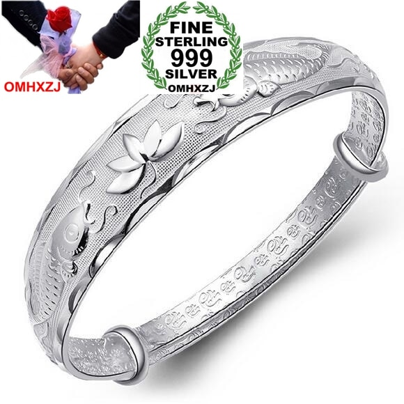 OMHXZJ venta al por mayor de moda pescado doble lotusn mujer estrella kpop fina plata de ley 999 pulsera ajustable brazaletes regalo SZ17