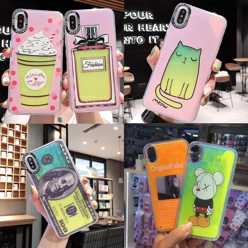 Caixa de água de areia luminosa líquido para o iphone xs max xr xs 7 8 6s mais perfume sorvete gato macio telefone caso areia movediça capa traseira
