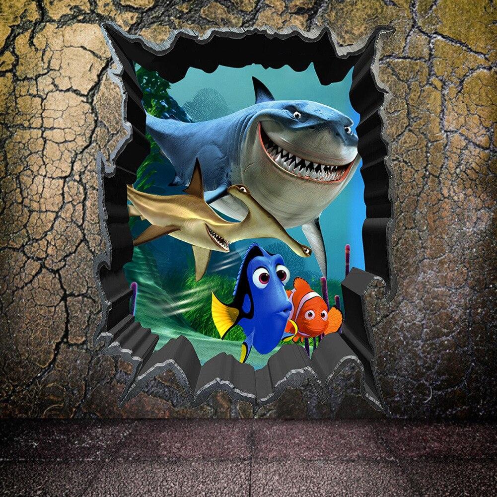 Nemo-autocollant mural pour la recherche des poissons   Autocollant pour la décoration des chambres à coucher des enfants, 1438. Affiche murale animal animal imprimé en 3d   Étiquette décorative, pour la maison, cadeau, diy 3.5
