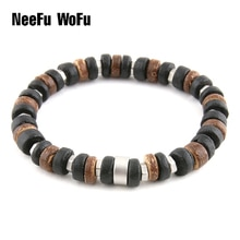 Homem pulseira de madeira natural fosco conchas de coco civil série de metal personalidade pulseiras minério marca moda presente frisado mulher