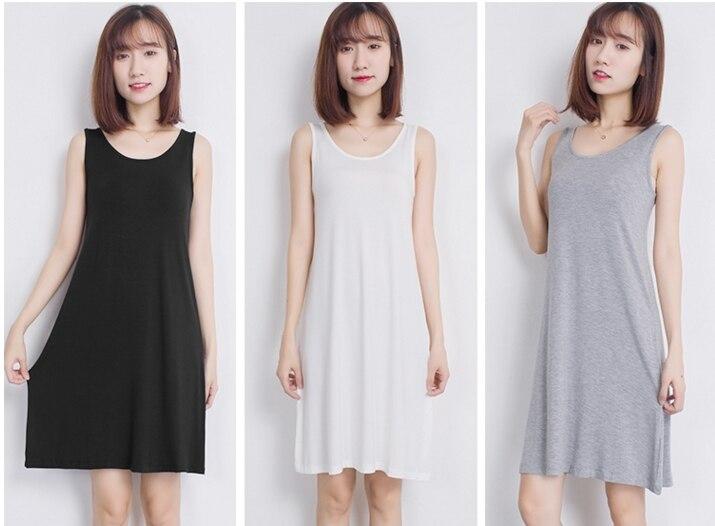 Nuevo verano sin mangas mujer tobillo-longitud básico todo-fósforo Slips 5 colores tanque todo-fósforo Slips