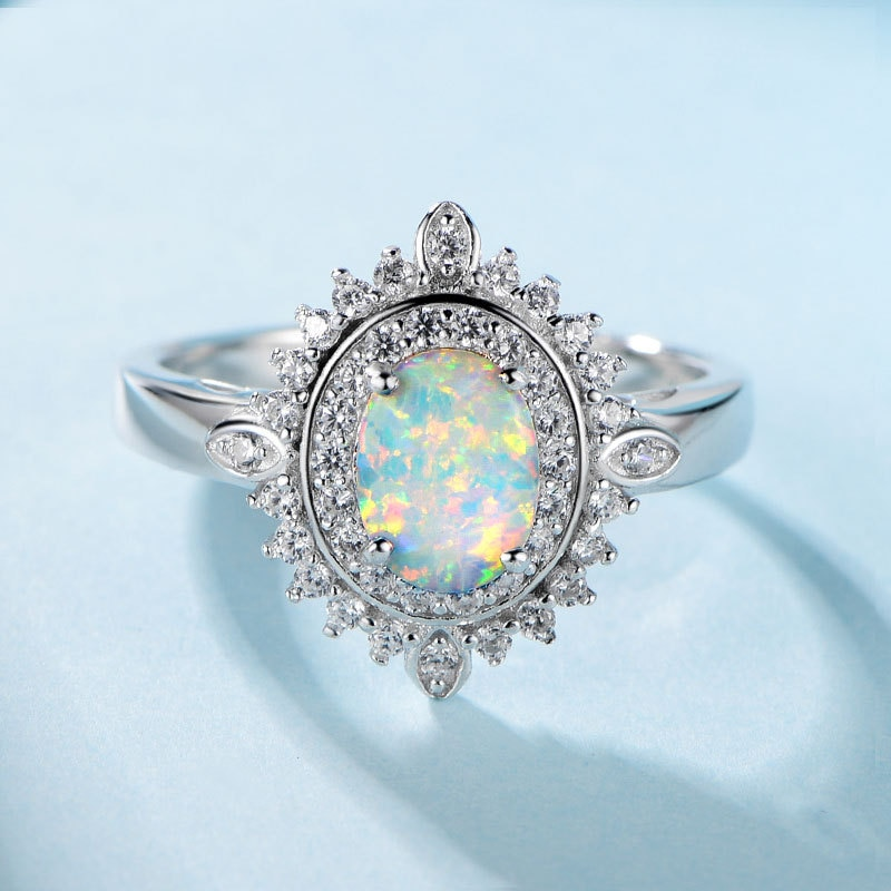 Sólida plata 925 anillos de ópalo de 6x8mm, anillos para mujer de tamaño completo para bodas/aniversario/fiesta regalos de navidad
