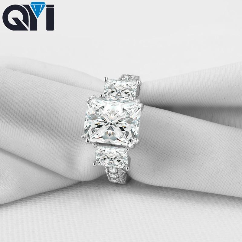 QYI 3 ct Corte Quadrado 925 Anéis De Prata Esterlina Mulheres Jóias Sona Simulado Anéis de Casamento Do Diamante de Noivado Presente