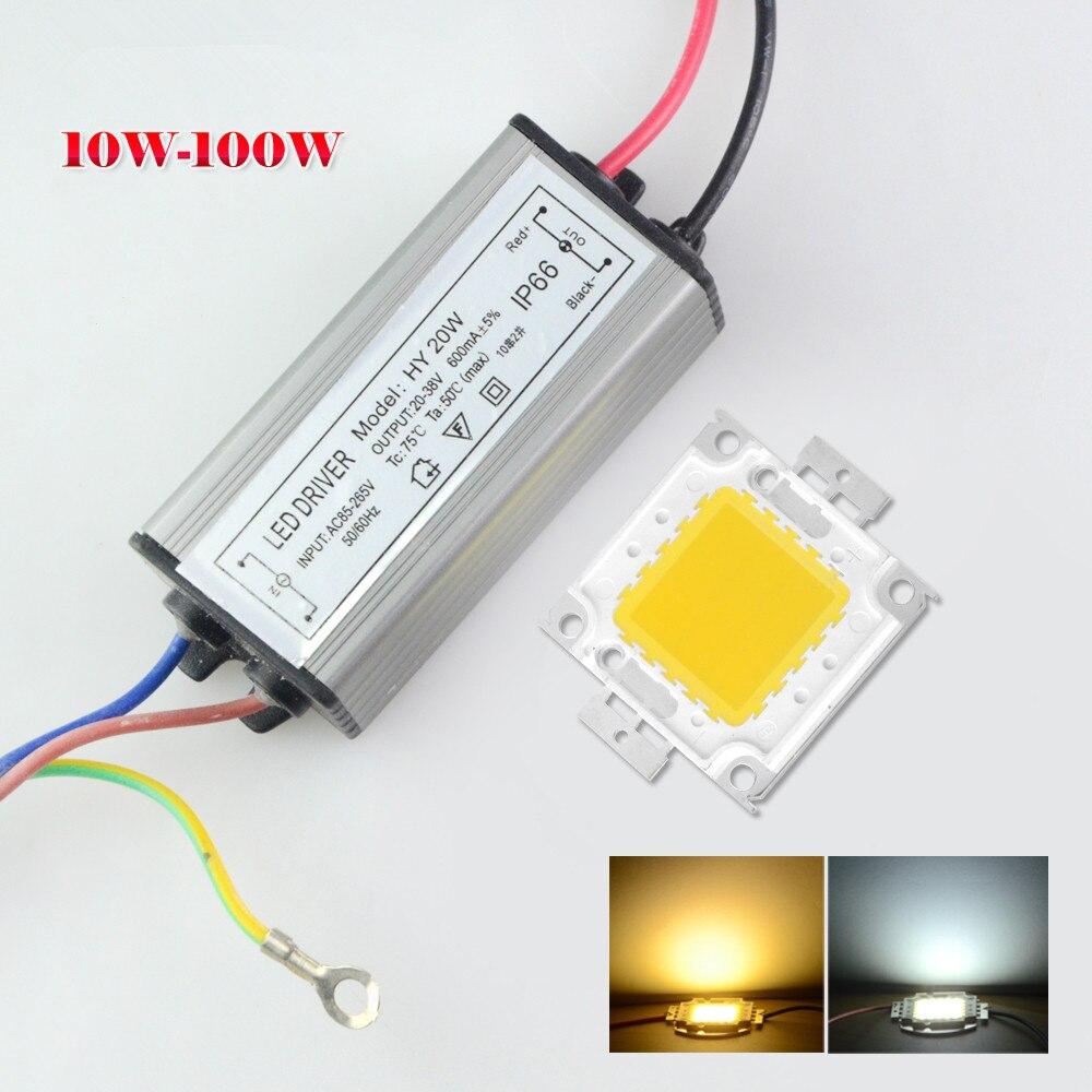 1 Juego de Chips de lámpara LED COB de alta potencia 10W 20W 30W 50W 100W vatio completo con controlador LED DIY reflector de luz de inundación iluminación de césped