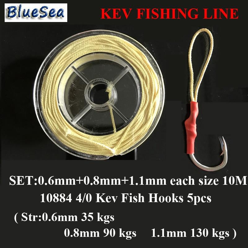 BlueSea Set 0.6/0.8/1.1mm Assist Fish Hooks Kevlar Fishing Line Assistant Hooks Kevlar Line Kevlar Fishing Line High Stronger