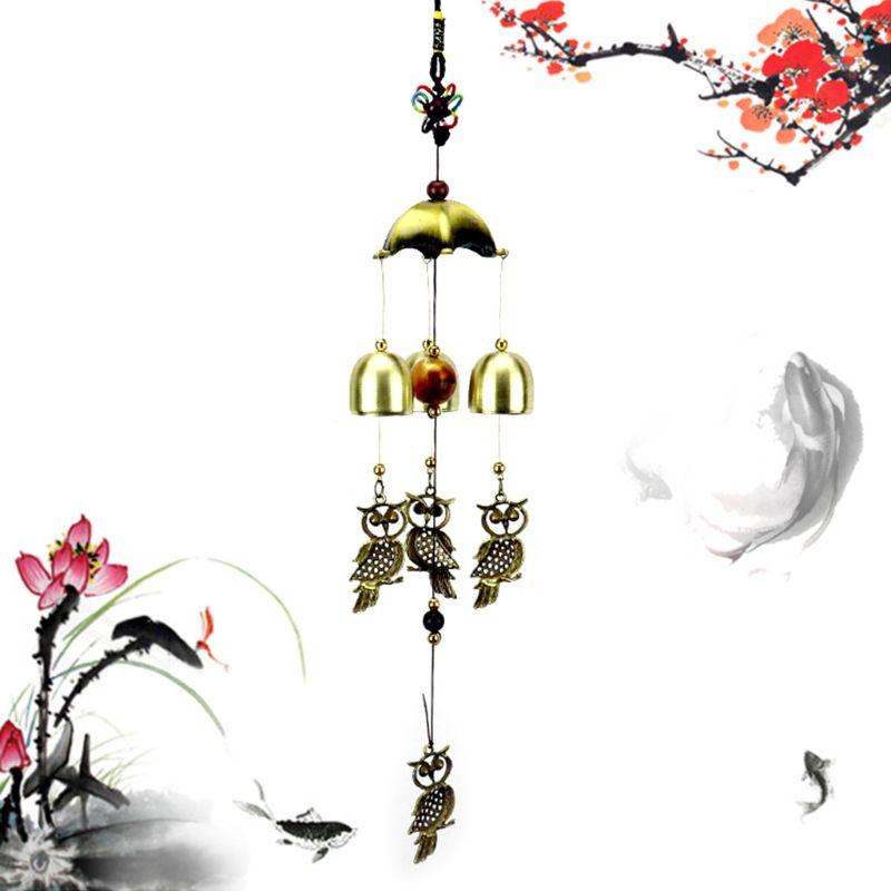 Carrilhão de vento Windchime Sinos Da Coruja Do Vintage Pendurado Decoração Para Casa Ornamento Do Jardim Ao Ar Livre Quintal Parede Janela