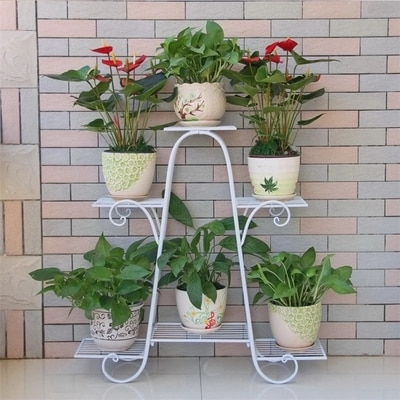 Estilo europeu multi andar flor rack verde varanda sala de estar vasos flores