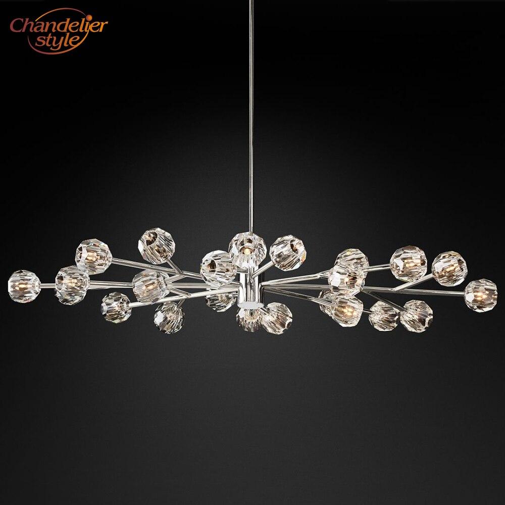 Boule De Cristal Овальный подсвечник, современные винтажные хрустальные люстры, подвесные светильники, ресторанное освещение