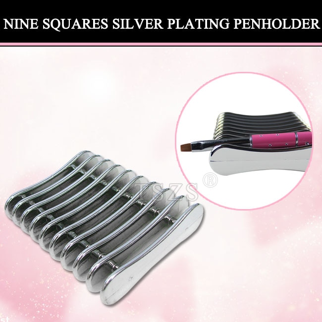 1pcs/Lot 9 grids silver Nail Art Penholder Nails Salon Brush Rack Crystal Pen Carrier Storage Manicure Tool Stand Holder