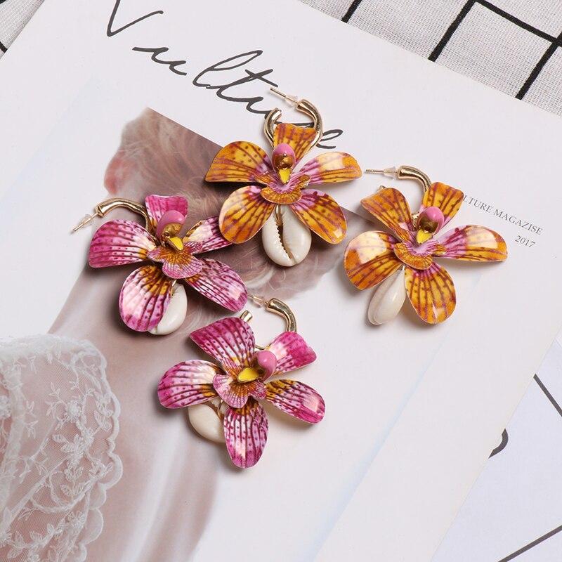 JUJIA Boho, pendientes de gota de concha de verano para mujer, nueva flor, Vintage, Maxi, rosa, pendiente grande, joyería de boda za