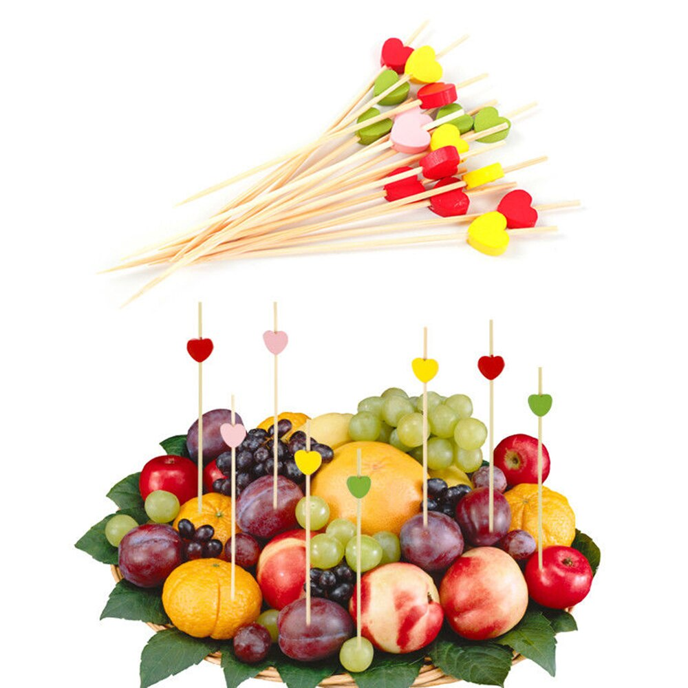 100PCS Einweg Bambus Picks 12cm Herz Spieße Obst Dessert Kuchen Zeichen Cocktail Nette Lebensmittel Sticks Buffet Cupcake Topper party