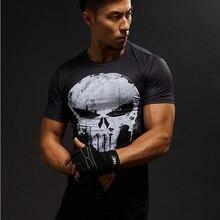 Superhero Punisher T shirt men sport tights The Avengers  short sleeve Compression Shirt Quick-drying elastic gym clothing