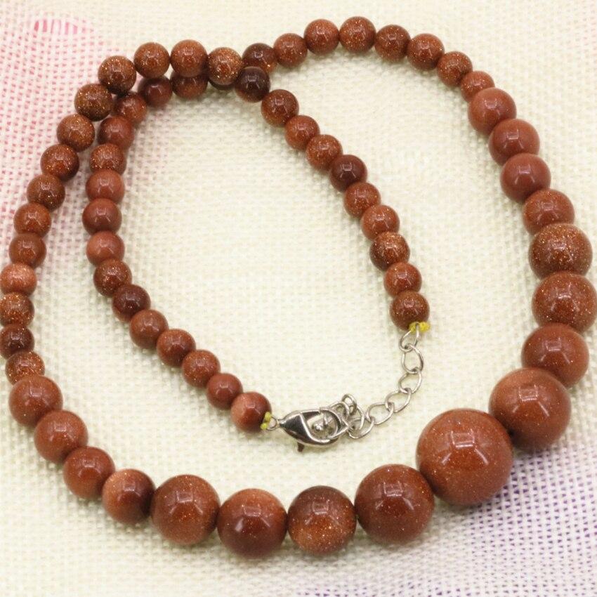 Collar de cadena de cuentas redondas de piedra arenisca de 6-14mm de color Oro natural, Gargantilla para mujer, joyería de moda de 18 pulgadas B3192