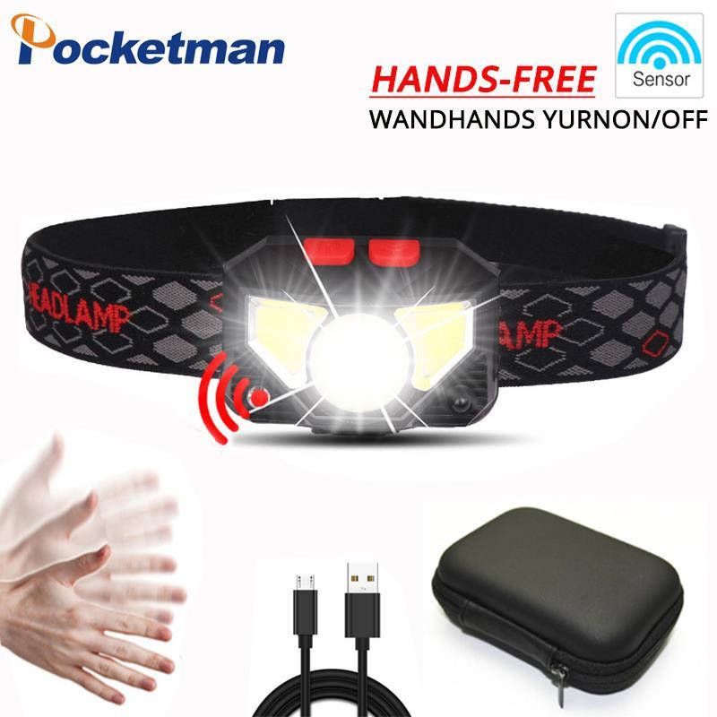 Pocketman 3200lm Sensor LED de cabeza Sensor de movimiento Powerfull Hard Hat LED faro incorporado batería inductiva con caja portátil