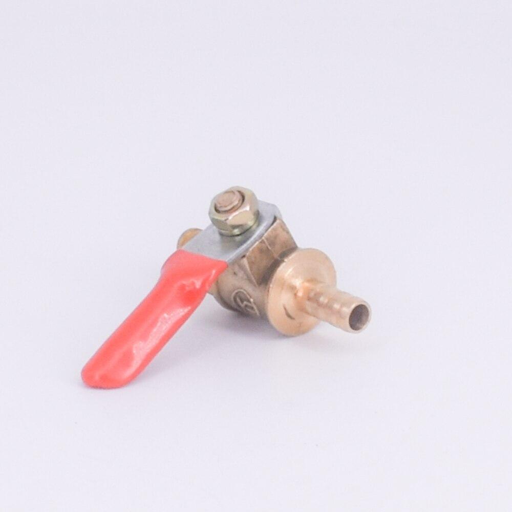 6mm lengüeta de manguera de cola válvula de bola de latón de Gas de agua 57 PSI Agujero 7mm con mango rojo