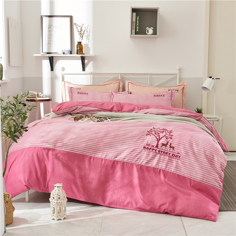 Juego de ropa de cama caliente Extra grueso juego de edredón funda de almohada plana redonda esquina sábana bordado ciervo árbol 4 temporada dormitorio Kits