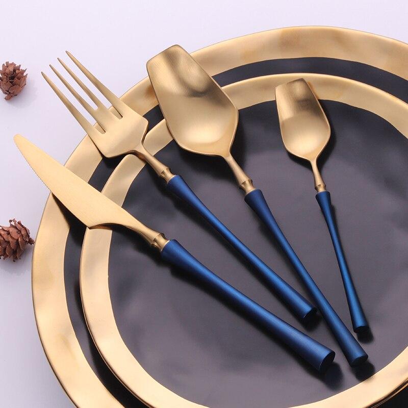 24 قطعة/الوحدة الذهب أدوات المائدة والسكاكين 304 الفولاذ المقاوم للصدأ الجدول سكين S بون شوكة مجموعة أواني الطعام الغربي السكاكين مجموعات
