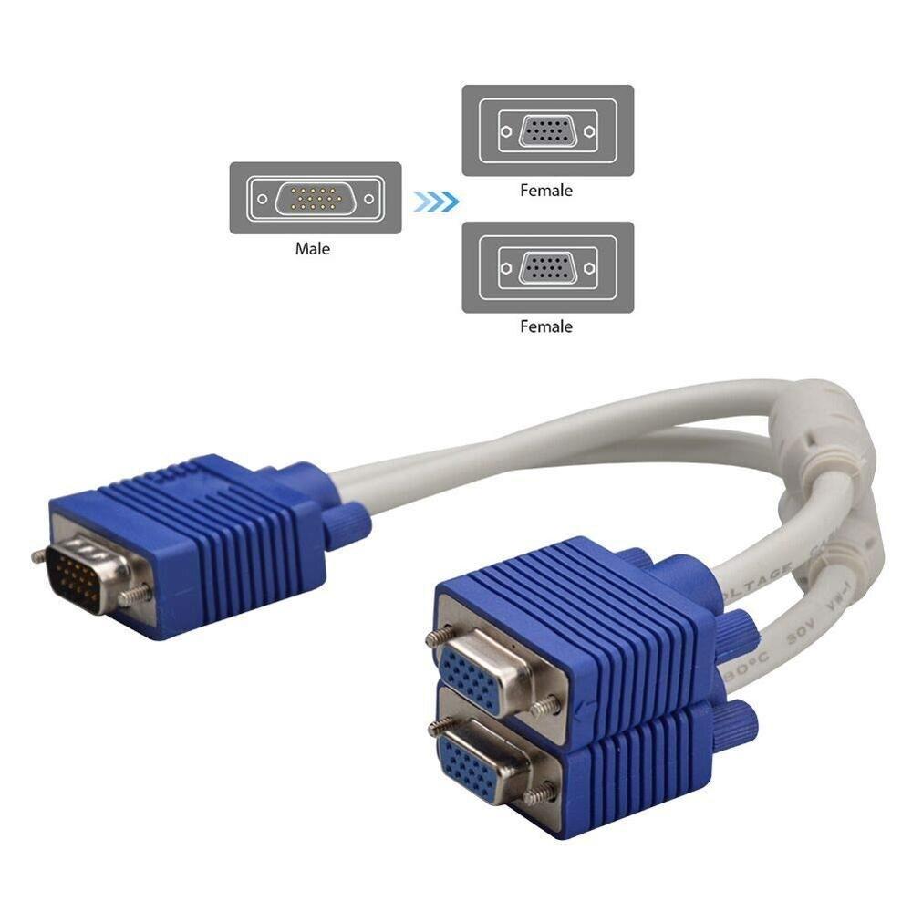 Cable divisor VGA, 1 macho de 15 pines a 2 hembra adaptador...