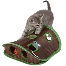 Обучающая игрушка для кошек, игра в прятки, складная головоломка, игрушка для упражнений, 9 отверстий, мышь, охота с колокольчиками