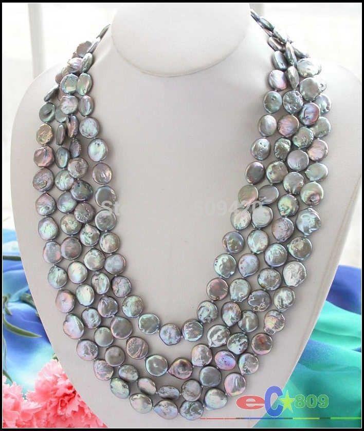 "Collar de perlas de agua dulce cultivadas de moneda gris de 100 ""14mm con envío gratis"
