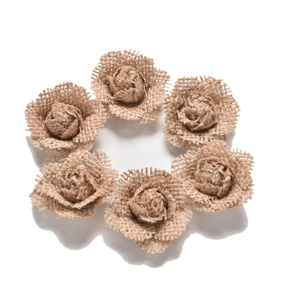 6pcs/set Hessian Burlap Rose Flowers for Crafts Rustic Wedding Decor