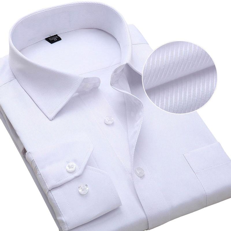 Plus Größe Langarm Männer Kleid Shirt Mode Männlichen Geschäfts Formalen Tragen Büro Arbeits Shirts 6XL 7XL 8XL Weißes Hemd slim Fit