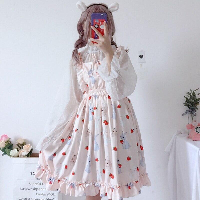 Mujer dulce Lolita dess chica lindo conejo vestido rosa fresa ruffled bubble vestido Puff princesa vestido seethrough Camisa de gasa